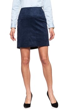 SPÓDNICA JEANSOWA TOM TAILOR FAKE VELOUR LEATHER SKIRT DEEP NAVY BLUE