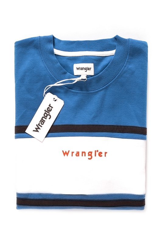 BLUZA WRANGLER COLORBLOCK CREW SWEATER TURKISH SEA W6599IH86