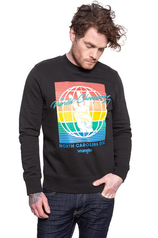 BLUZA WRANGLER GLOBE SWEAT FADED BLACK W6C5HXXV6