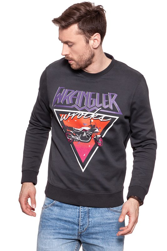 BLUZA WRANGLER MĘSKA CREW SWEAT  FADED BLACK W6559IHV6