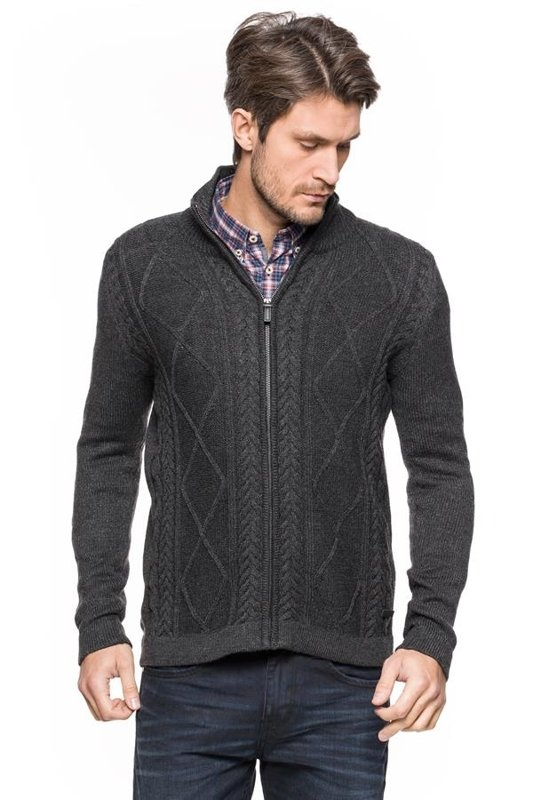 TOM TAILOR CABLE ZIP JACKET 3019415.00.10 COL. 2572