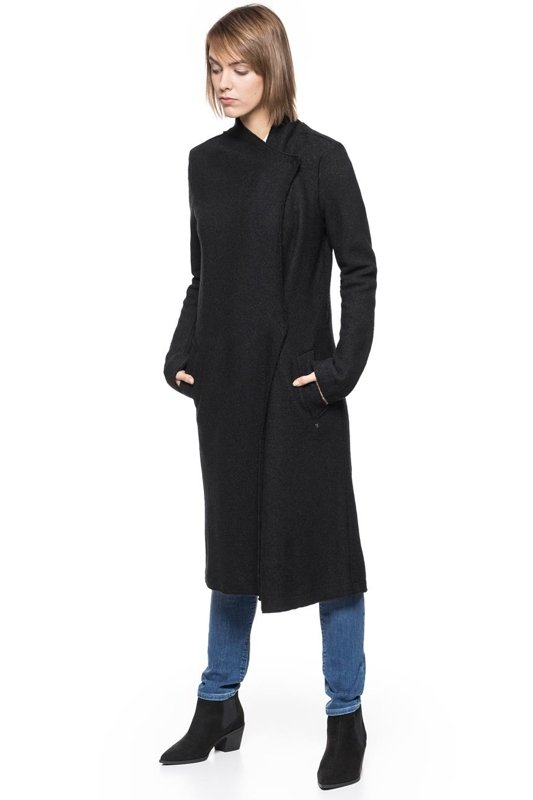 TOM TAILOR CLEAN COAT WITH DRAPED COLLAR CZARNY