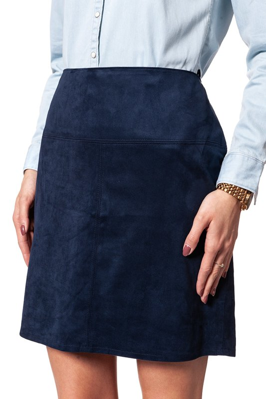 TOM TAILOR FAKE VELOUR LEATHER SKIRT DEEP NAVY BLUE