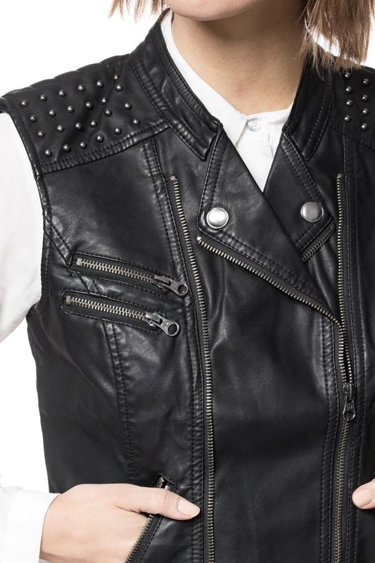 TOM TAILOR FAKELEATHER VEST RIVETS