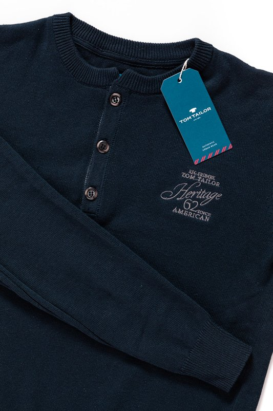 TOM TAILOR HENLEY WITH RIB DETAILS KNITTED NAVY 3018989.00.10 COL. 6800