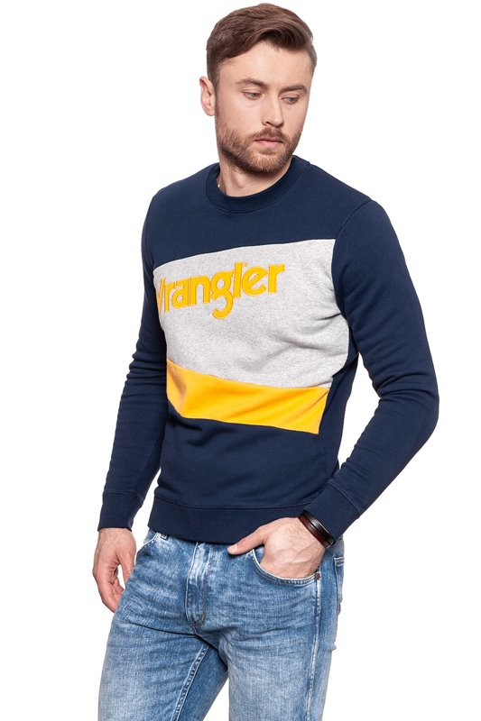 WRANGLER B&Y CREW SWEAT MID GREY MEL W6571IK37