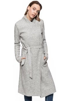 TOM TAILOR CLEAN COAT WITH DRAPED COLLAR SZARY